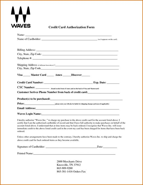 Business Credit Card Authorization Form Template custom card template 187 blank credit card authorization