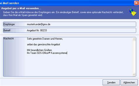 Angebot Versenden Text Sds Kassensysteme Kassensoftware Rechnung Email