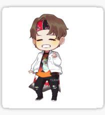Red Wall Art Stickers taehyung chibi gifts amp merchandise redbubble