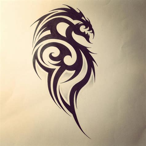 tribal dragon tattoo drawings tribal design by fingerprint1404 deviantart