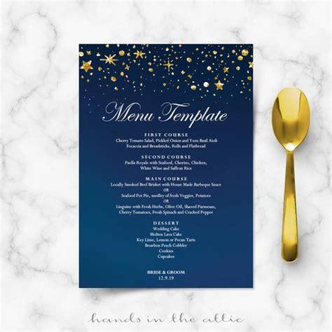 starry place card template starry wedding menu cards diy template gold glitter