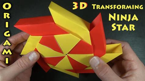 Origami Shuriken 8 Point - origami 3 d transforming designed by bolt