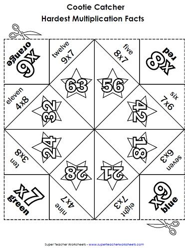 printable games to learn multiplication facts multiplication cootie catchers fortune tellers orgami