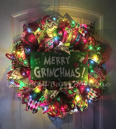 christmas wreath light up christmas wreath grinch wreath