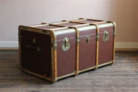 Luggage Trunk Coffee Table Circa 1920s Brass And Vellum Trunk Coffee Table Leather Trunks Luggage