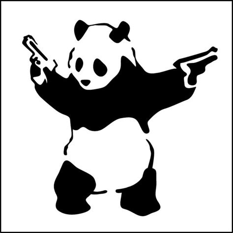 Banksy Wall Stickers 10cm wide banksy gangster panda decal sticker vinyl street