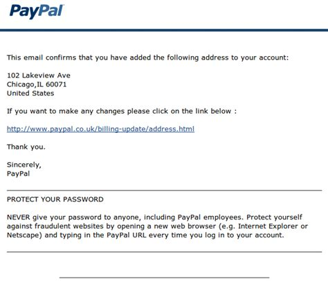 phishing email  steal paypal account