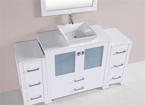 Bathroom Vanity With Side Cabinet 60 Quot Newport White Single Modern Bathroom Vanity With 2 Side Cabinets And Vessel Sink Bathroom