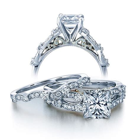 vintage wedding ring sets white gold 1 carat vintage princess wedding ring set for