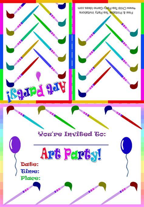 free printable art party invitations free printable tea party invitations art party