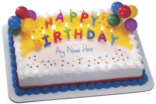 write name on birthday cake with candles and balloon