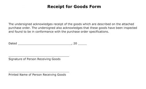 free receipt for goods form pdf template form