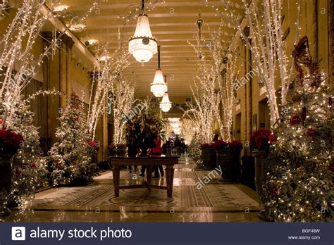 roosevelt hotel lobby with christmas decorations and