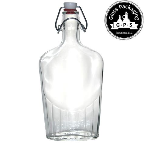 glass flask bottles with swing top 500 ml swing top clear italian glass pocket flask