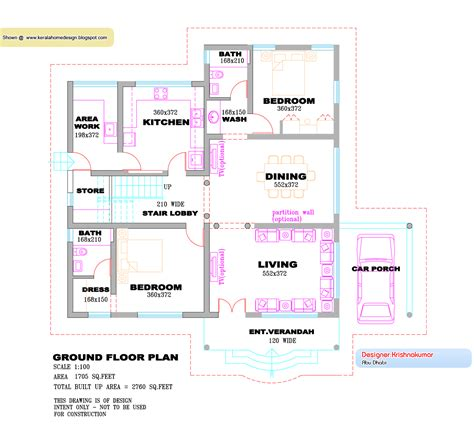 kerala villa design plan and elevation 2760 sq