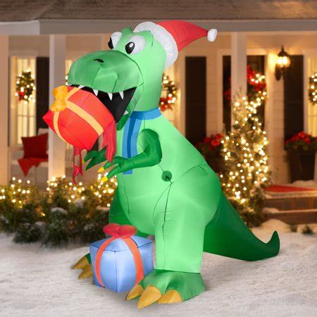 christmas yard blowups 7 5 t rex with present airblown prop walmart