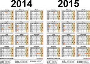 Calendar Template 2014 Uk by Two Year Calendars For 2014 2015 Uk For Pdf