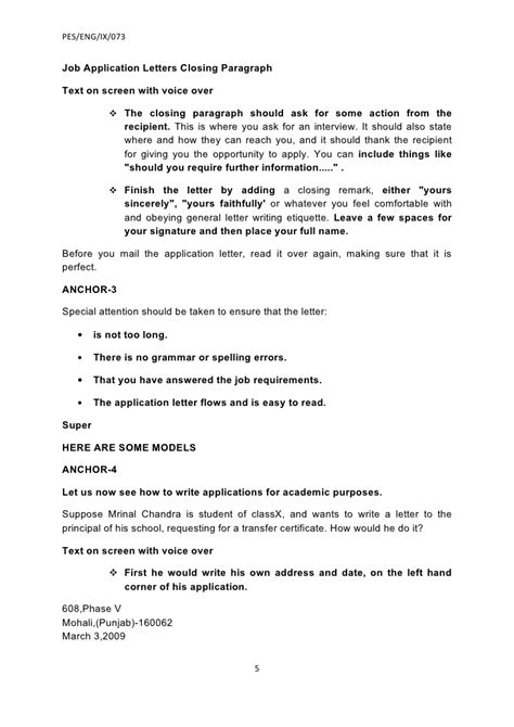 Closing Employment Letter Ix Application And Letter Writing 4 Beta