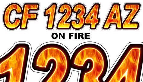 az boat registration numbers on fire custom boat registration numbers decals vinyl