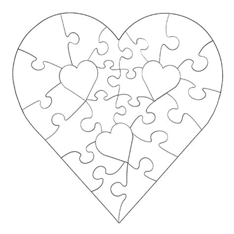 printable heart puzzle template 23 piece heart shaped puzzle assorted colors