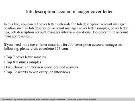 description account manager executive cover letter