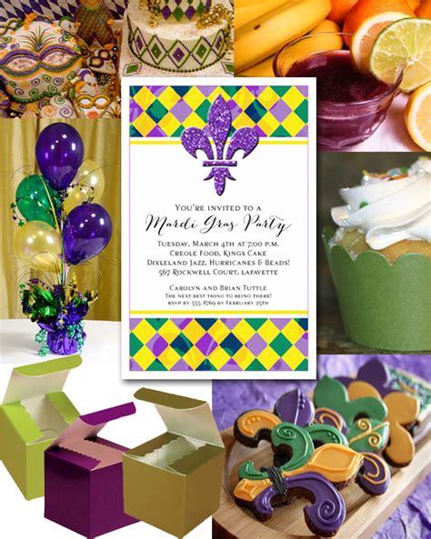 Mardi gras harlequin and fluer de lis party invitations and ideas