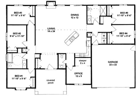 5 bedroom floor plan ranch style house plan 5 beds 2 50 baths 2072 sq ft plan 58 183