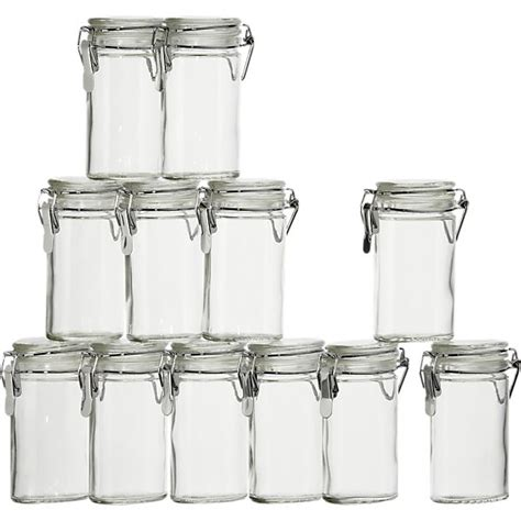 Mini Glass Spice Jars Set Of 12 Mini Oval Spice Herb Jars With Cl Crate And