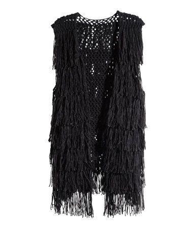 Wool Blend Knit Vest soft knit wool blend black vest with fringe