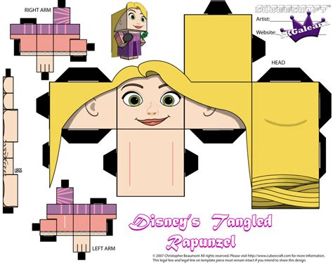 Disney Paper Crafts - cubeecraft of repunzel from disney s tangled skgaleana
