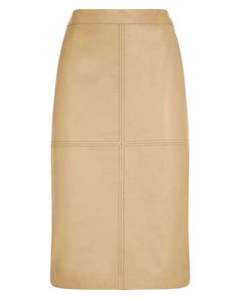jaeger leather pencil skirt in beige cuban sand lyst