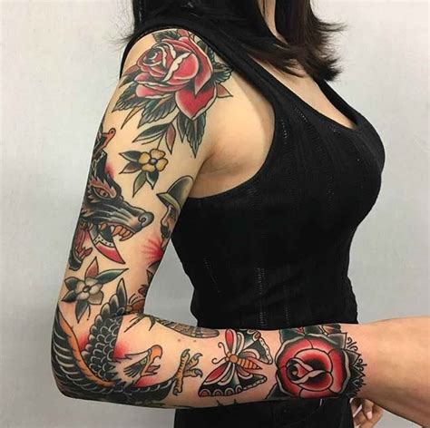 tattoo designs woman traditional sleeve designs ideas and meaning