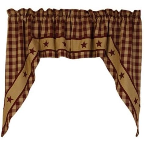 primitive swag curtains new burgundy country star swag curtain homespun check