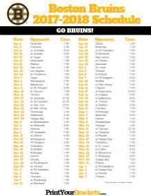 Bruins Schedule Printable Boston Bruins Hockey Schedule 2017 2018