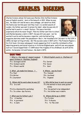 biography charles dickens short 9 free esl charles dickens worksheets