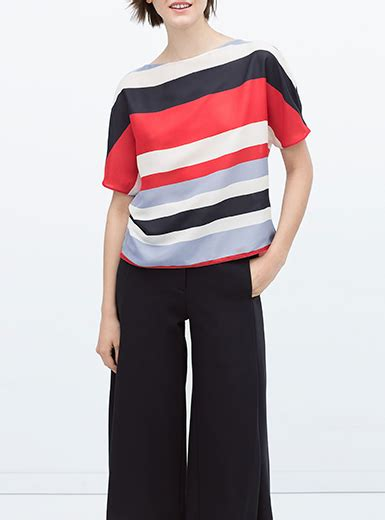 Black Grey Stripe Asymmetric Top Size Mlxl diagonally striped blouse neutral gray black asymmetrical hemline