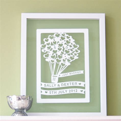 personalised wedding gift paper cut