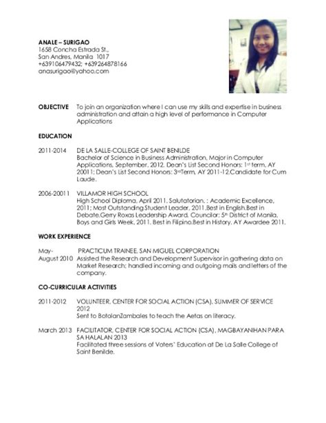 resume sle for nurses philippines 28 images registered