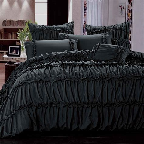 Ruffle Bed Set Black Ruffle Ruched King Quilt Cover Set Bed Linen Set Bedding Ebay