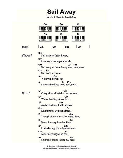 lyrics and piano chords sail away sheet by david gray lyrics piano chords