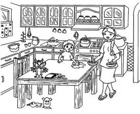 helping mom cleaning table kitchen coloring pages