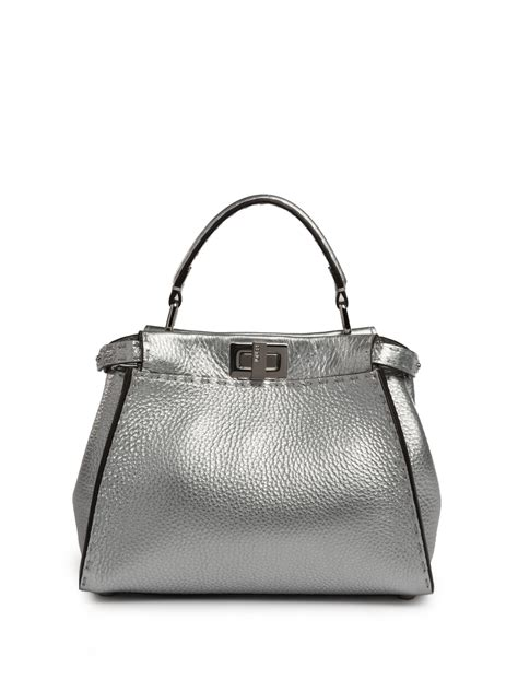 Fendi Selleria Leather Satchel fendi selleria peekaboo mini metallic leather satchel in
