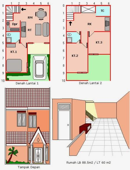 Membangun Dapur Apik Nyaman denah rumah 6x12 3 kamar tidur 1 mushola