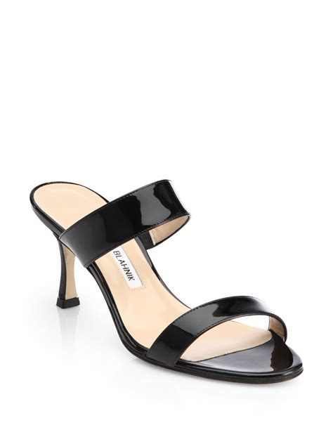 manolo blahnik sandals lyst manolo blahnik patent leather banded sandals