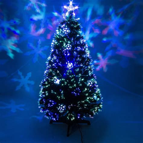 green fibre optic christmas tree with baubles leds