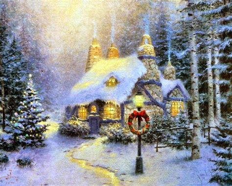 homeade lifesize thinas kinkade christmas tree beautiful cottage desktop wallpapers cool awesome houses garden healthy