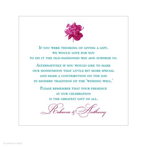 Gift Cards For Wedding Registry - alannah rose wedding invitations stationery shop online peony pop gift
