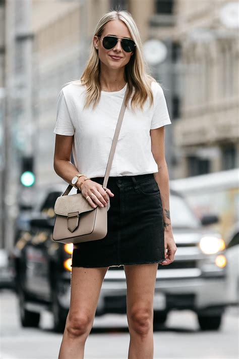 a casual way to wear a black denim skirt fashion jackson