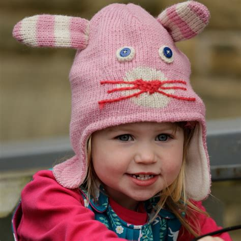 bunny knit hat piccalilly wool knitted pink bunny novelty hat