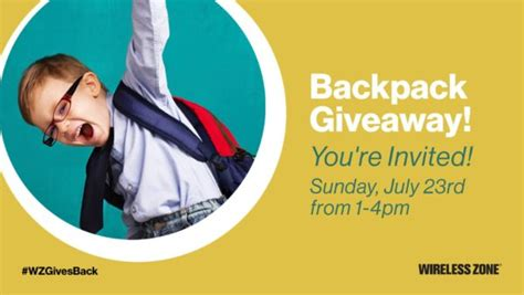 Verizon Backpack Giveaway 2017 - free backpack and school supplies from verizon tcc and verizon wireless zone on july 23rd